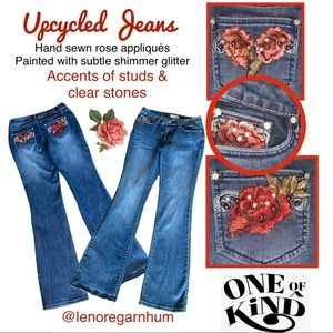 Upcycled Earl Jeans rose appliqués studded 27w